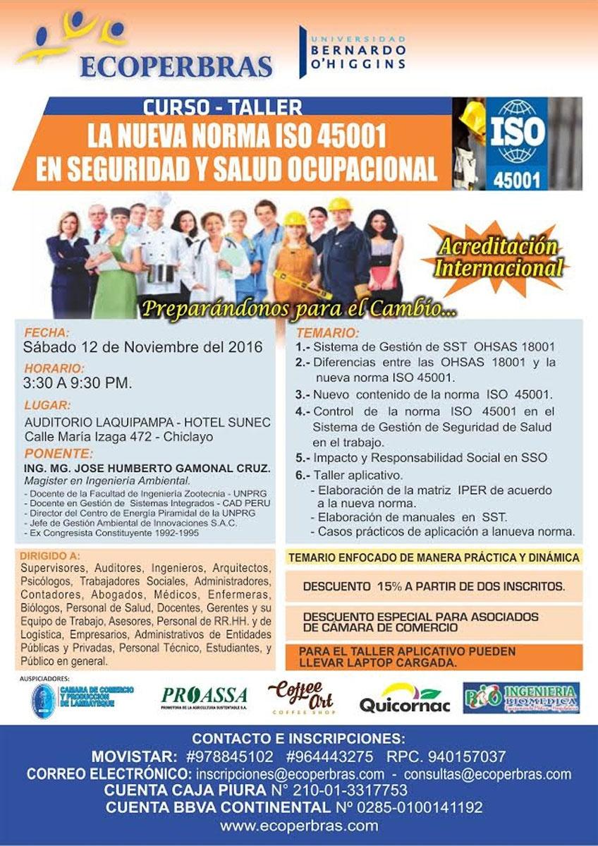 LA NUEVA NORMA ISO - 45001 EN SEGURIDAD Y SALUD OCUPACIONAL - 2016