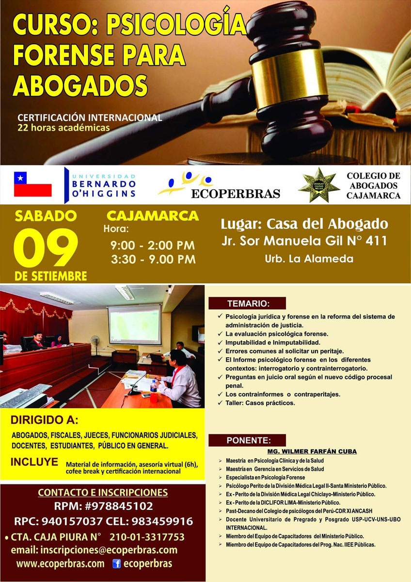 CURSO PSICOLOGÍA FORENSE PARA ABOGADOS - CAJAMARCA
