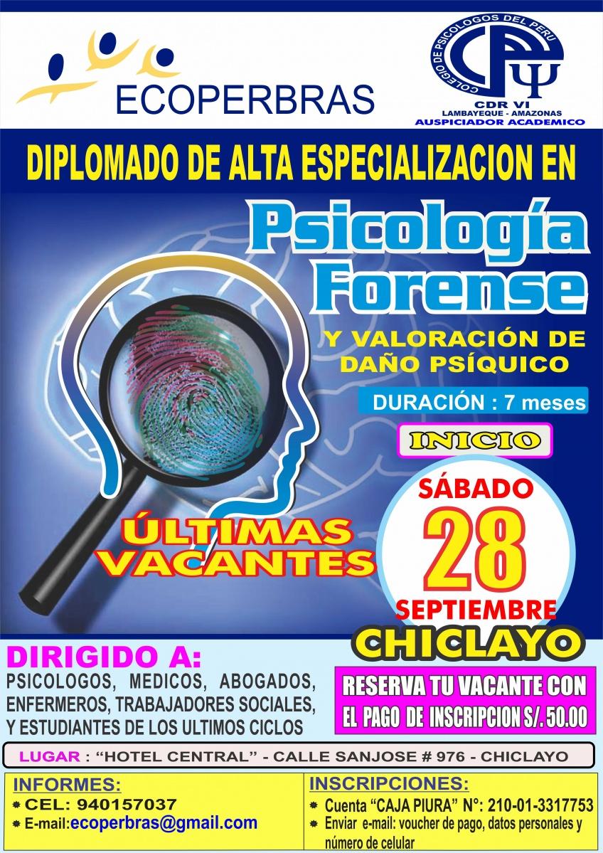 DIPLOMADO DE ALTA ESPECIALIZACIÓN EN PSICOLOGÍA FORENSE Y VALORACIÓN DE DAÑO PSÍQUICO