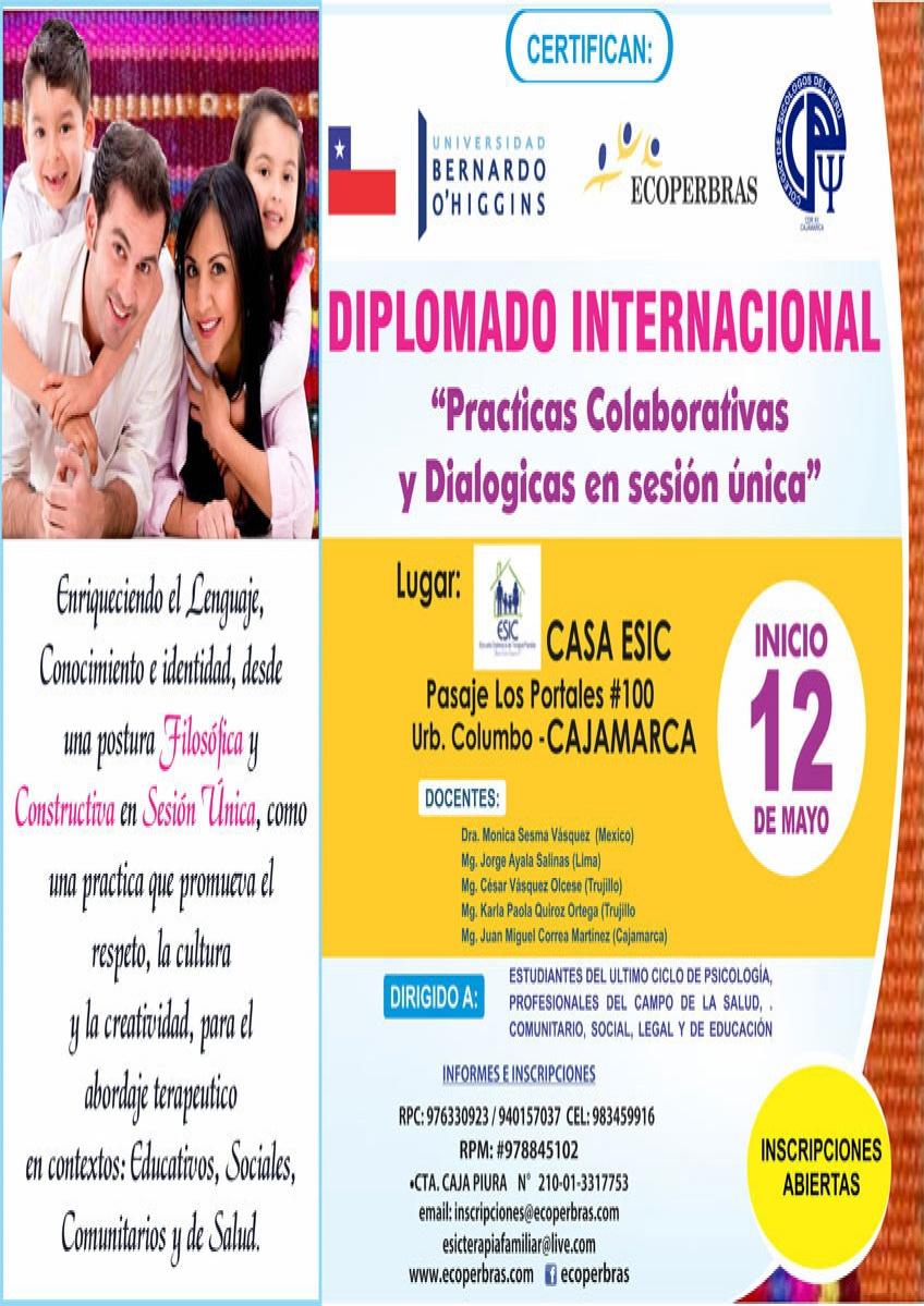 """DIPLOMADO INTERNACIONAL """"PRÁCTICAS COLABORATIVAS Y DIALÓGICAS EN SESIÓN ÚNICA"""""""