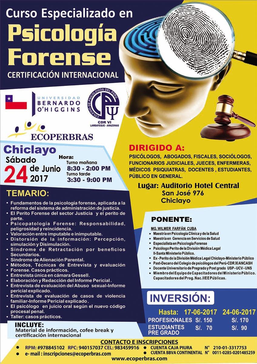 CURSO ESPECIALIZADO EN PSICOLOGÍA FORENSE - CHICLAYO