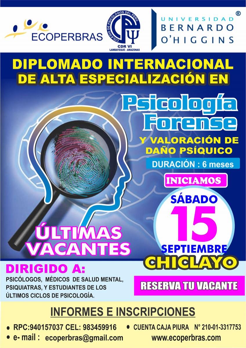 DIPLOMADO INTERNACIONAL DE ALTA ESPECIALIZACIÓN EN PSICOLOGíA FORENSE Y VALORACIÓN DE DAÑO PSÍQUICO