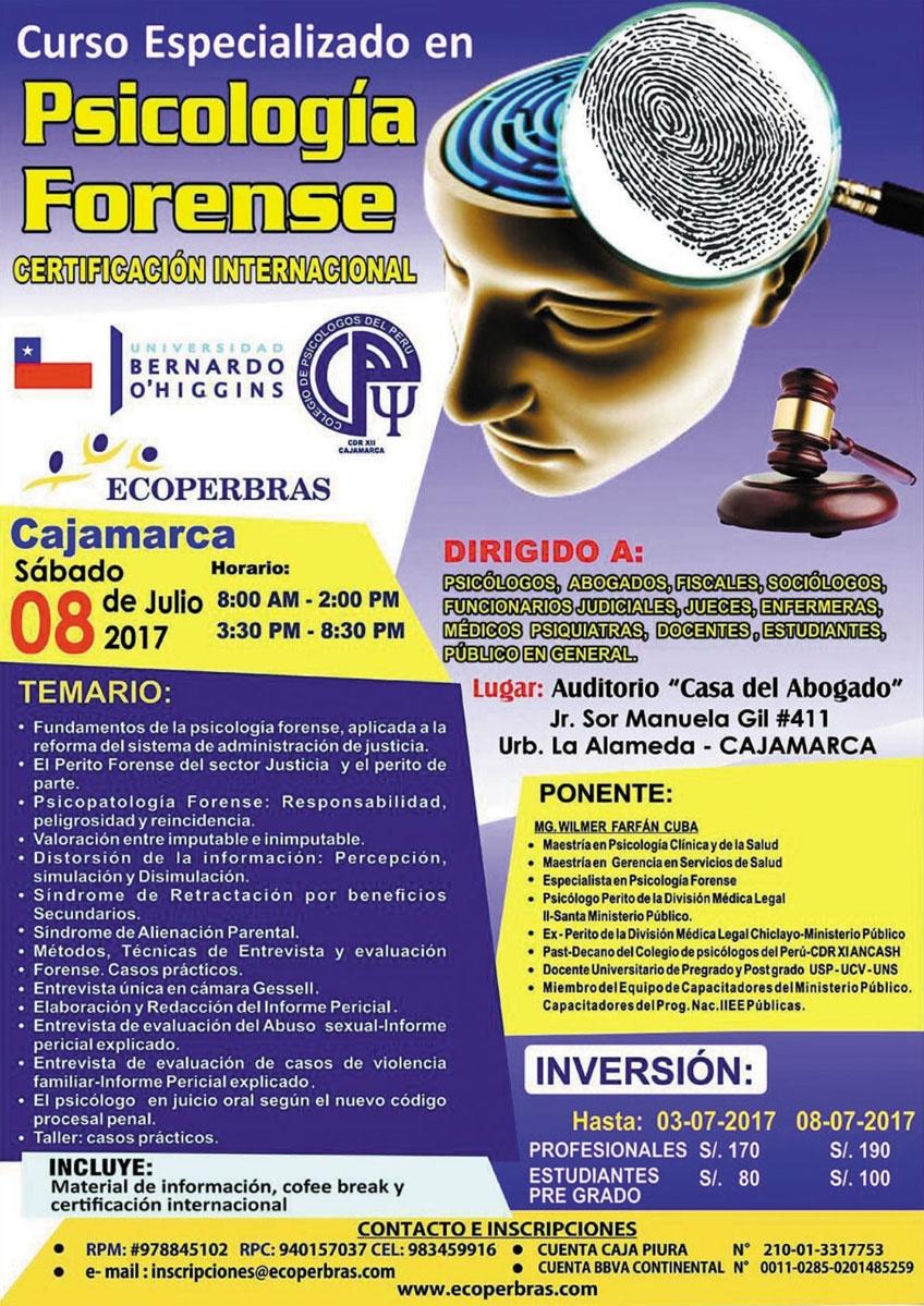 CURSO ESPECIALIZADO EN PSICOLOGÍA FORENSE - CAJAMARCA