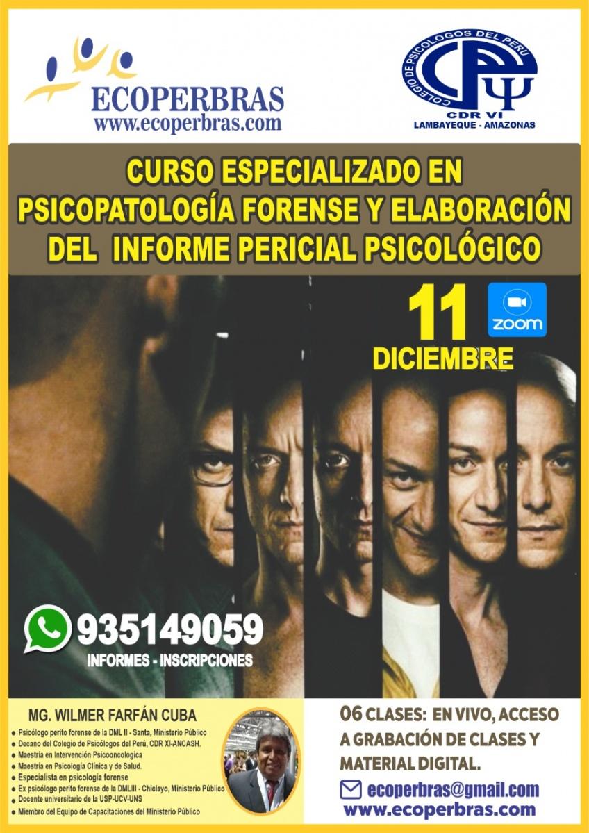 CURSO ESPECIALIZADON EN PSICOPATOLOGÍA FORENSE Y ELABORACIÓN DEL INFORME PERICIAL PSICOLÓGICO