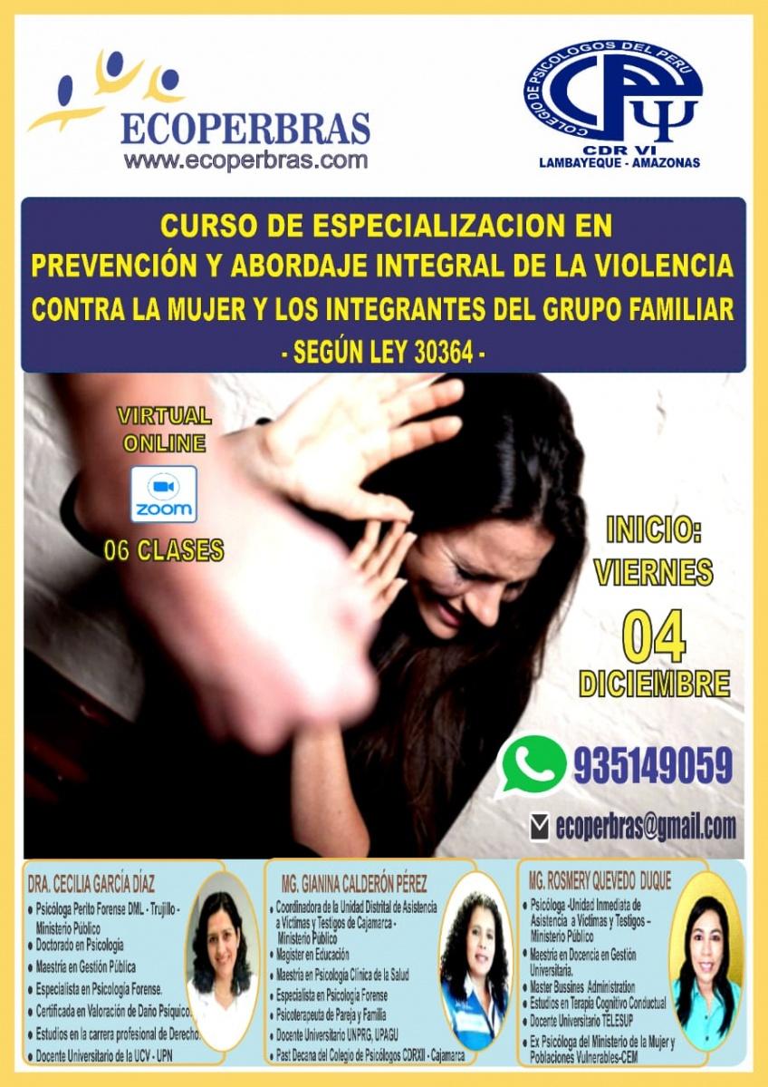 CURSO DE ESPECIALIZACIÓN EN PREVENCIÓN Y ABORDAJE INTEGRAL DE LA VIOLENCIA CONTRA LA MUJER Y LOS INTEGRANTES DEL GRUPO FAMILIAR - SEGÚN LEY 30364